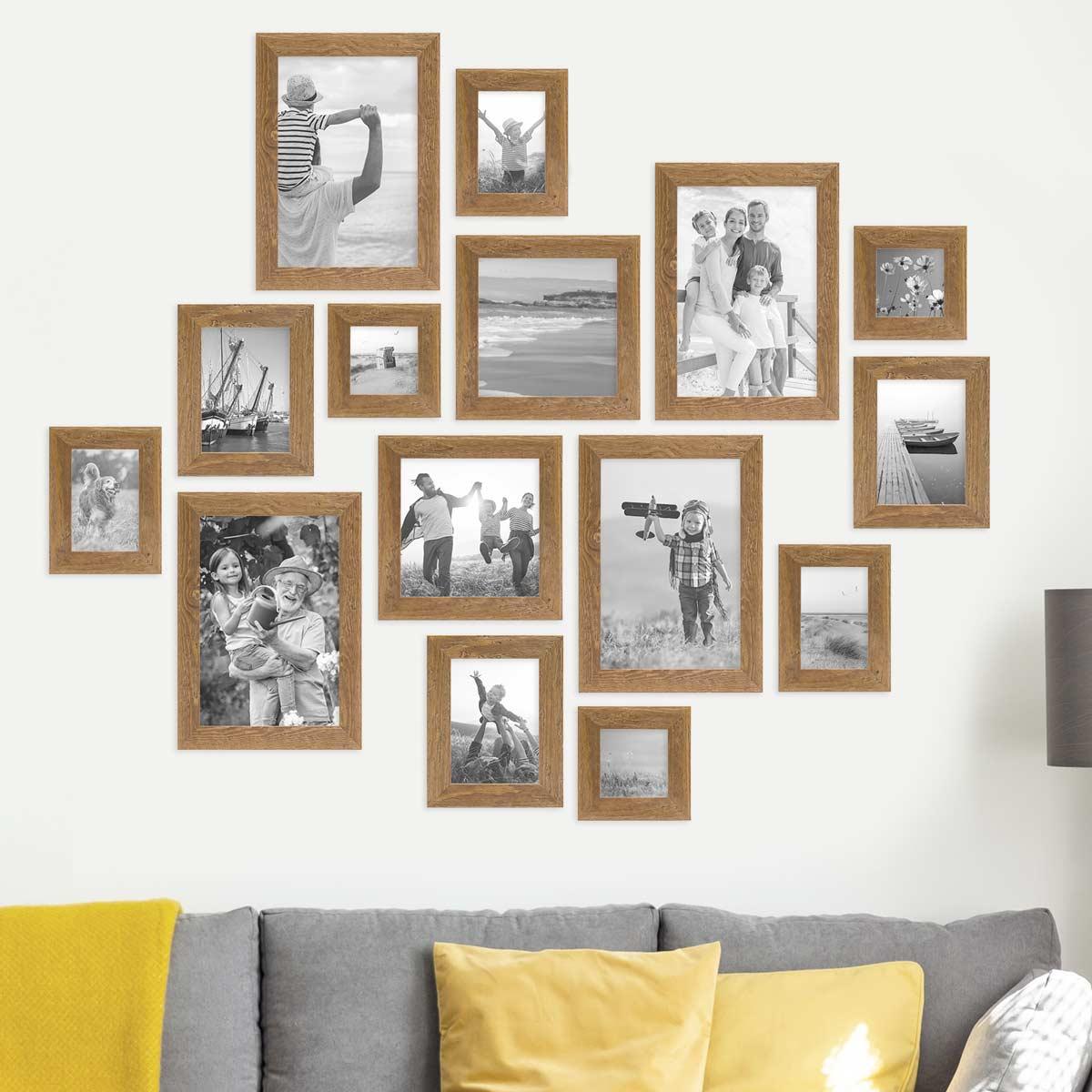 10er Bilderrahmen Set Strandhaus Rustikal Eiche Optik Natur   PHOTOLINI  Bilderrahmen, Fotowände, Poster und Geschenke