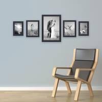 5er Set Bilderrahmen 10x15 15x20 und 20x30 cm Schwarz Modern aus MDF mit Glasscheibe inkl. Zubehör / Fotorahmen