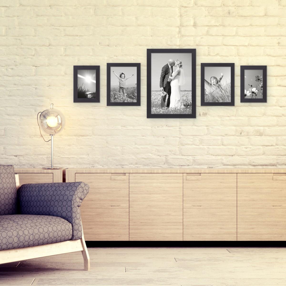 5er Set Bilderrahmen 15x20, 20x30 und 30x45 cm Schwarz Modern aus ...
