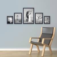 5er Set Bilderrahmen 15x20, 20x30 und 30x45 cm Schwarz Modern aus MDF mit Glasscheibe inkl. Zubehör / Fotorahmen  – Bild 4