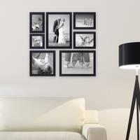 7er Set Bilderrahmen 10x10 10x15 13x18 20x20 und 20x30 cm Schwarz Modern aus MDF mit Glasscheibe inkl. Zubehör / Fotorahmen