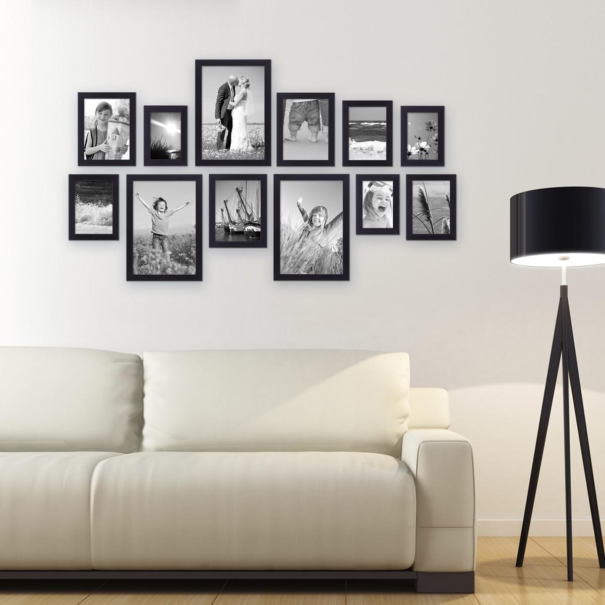 12er Set Bilderrahmen Modern Schwarz aus MDF 10x15 bis 20x30 cm ...