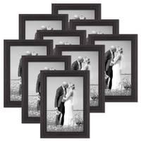 9er Set Bilderrahmen 20x30 cm Shabby-Chic Landhaus-Stil Dunkelbraun Massivholz mit Glasscheibe und Zubehör / Fotorahmen  – Bild 1
