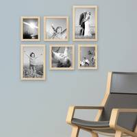 6er Set Bilderrahmen 15x20 20x20 und 20x30 cm Kiefer Natur Modern Massivholz-Rahmen mit Glasscheibe inkl. Zubehör / Fotorahmen