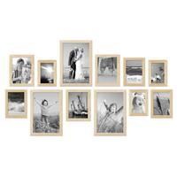 12er Set Bilderrahmen Modern Kiefer Natur Massivholz 10x15 bis 20x30 cm inklusive Zubehör / Fotorahmen  – Bild 1