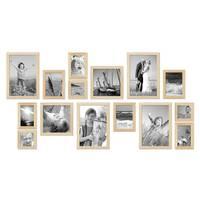 15er Bilderrahmen-Set Modern Kiefer Natur
