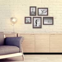5er Set Bilderrahmen 10x10, 10x15, 13x18 und 15x20 cm Nuss Modern Massivholz-Rahmen mit Glasscheibe inkl. Zubehör / Fotorahmen  – Bild 2