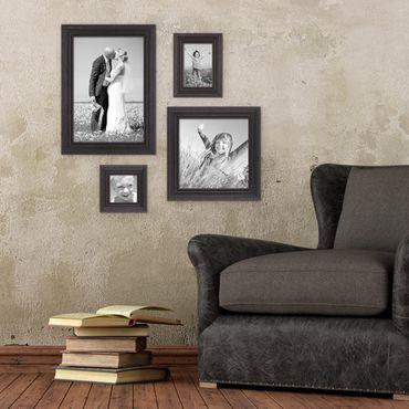 4er-Set Bilderrahmen Dunkelbraun Landhaus-Stil shabby-chic je einmal 10x10, 10x15, 20x20 und 20x30 cm inkl. Zubehör / Fotorahmen