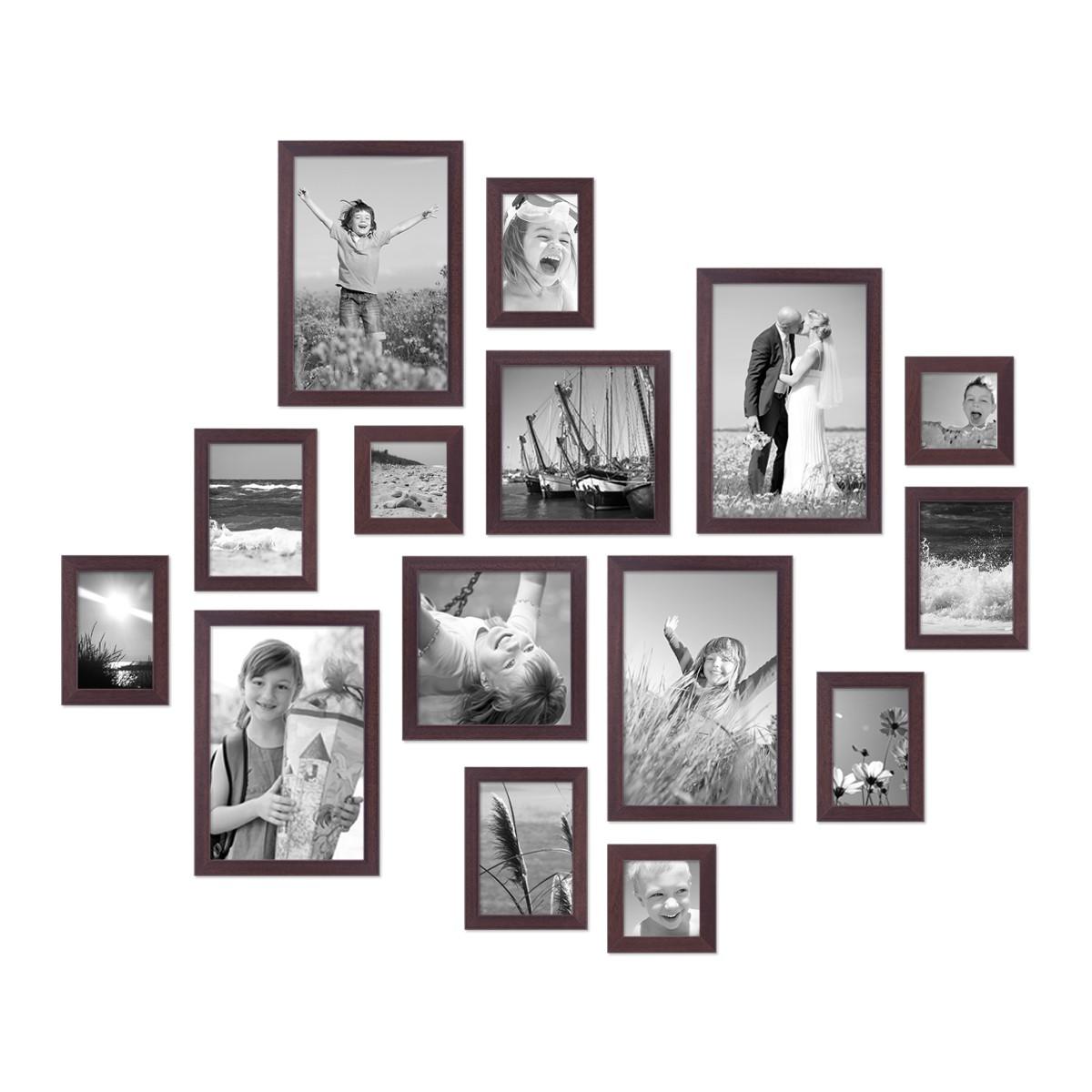 15er set bilderrahmen modern nuss massivholz 10x15 bis 20x30 cm inklusive zubeh r zur gestaltung. Black Bedroom Furniture Sets. Home Design Ideas