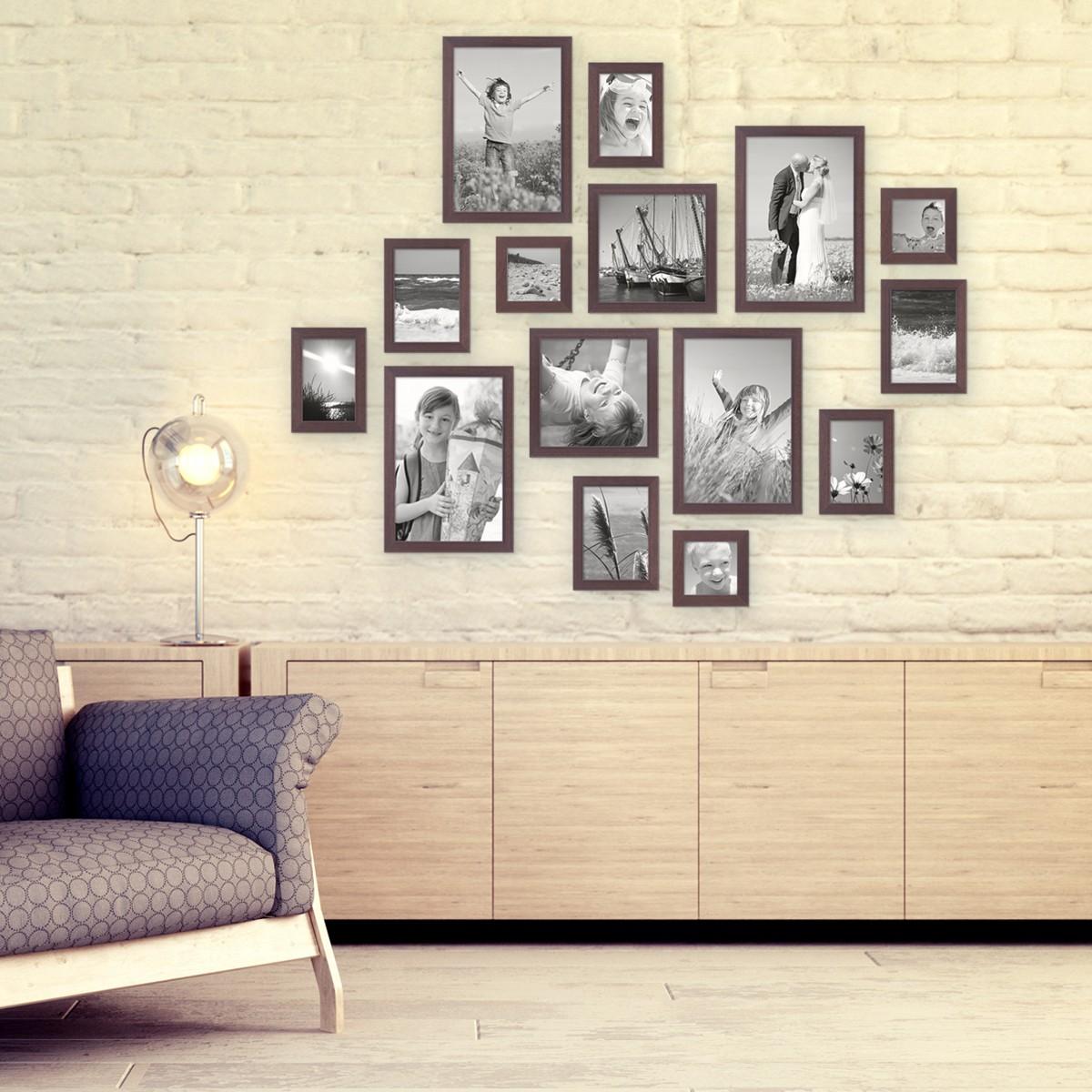 15er Set Bilderrahmen Modern Nuss Massivholz 10x15 bis 20x30 cm ...