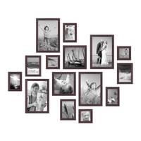 15er Set Bilderrahmen Modern Nuss Massivholz 10x15 bis 20x30 cm inklusive Zubehör zur Gestaltung einer Collage / Bildergalerie – Bild 1