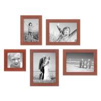 5er Set Bilderrahmen 10x10, 10x15, 13x18 und 15x20 cm Kirsche Modern Massivholz-Rahmen mit Glasscheibe inkl. Zubehör / Fotorahmen  – Bild 1