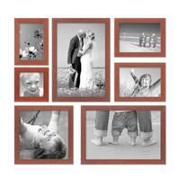7er Set Bilderrahmen 10x10, 10x15, 13x18, 20x20 und 20x30 cm Kirsche Modern Massivholz-Rahmen mit Glasscheibe inkl. Zubehör / Fotorahmen