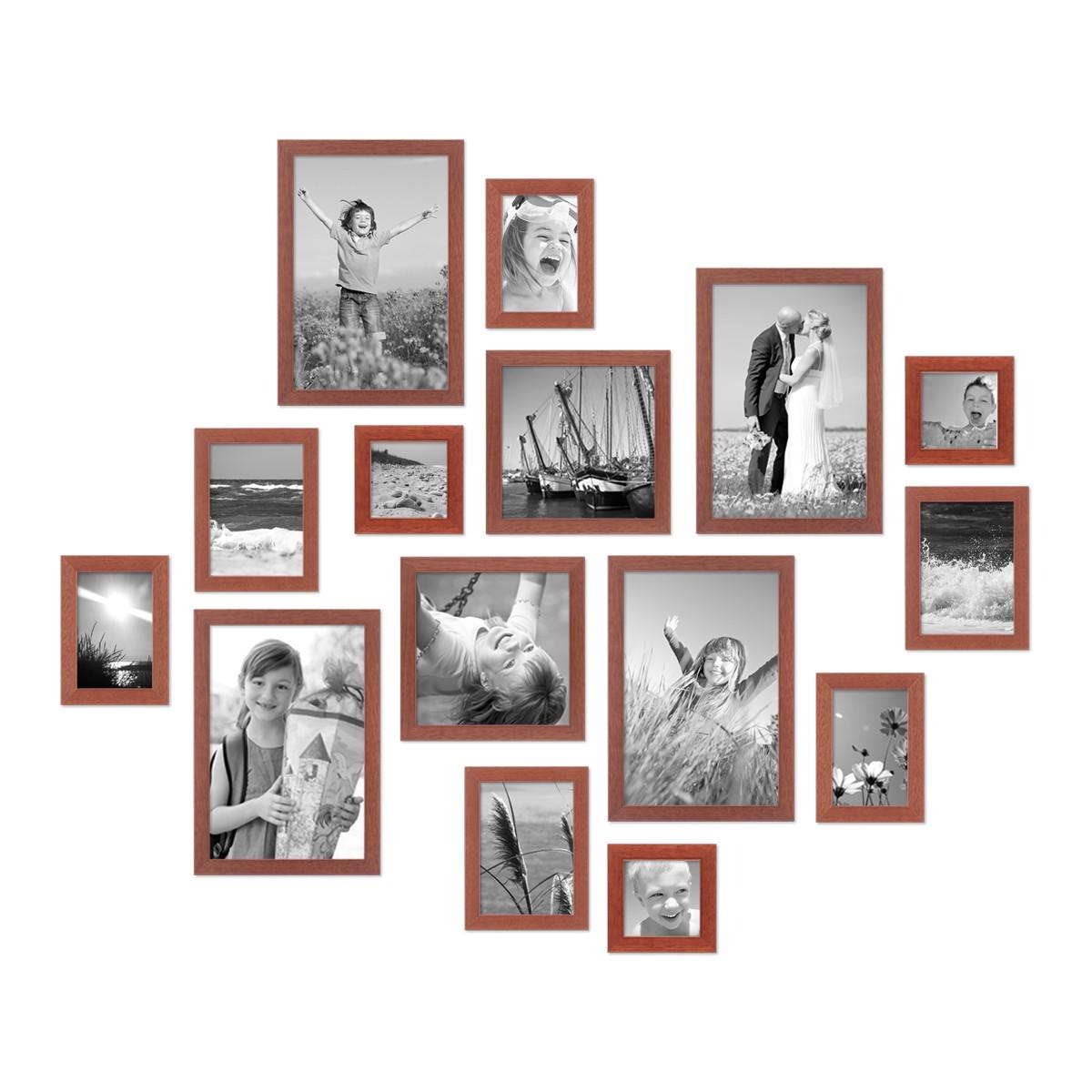 15er set bilderrahmen modern kirsche massivholz 10x15 bis 20x30 cm inklusive zubeh r zur. Black Bedroom Furniture Sets. Home Design Ideas