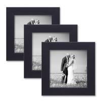 3er Set Bilderrahmen 10x10 cm Schwarz Modern aus MDF mit Glasscheibe und Zubehör / Fotorahmen