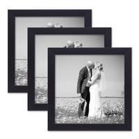 3er Set Bilderrahmen 20x20 cm Schwarz Modern aus MDF mit Glasscheibe und Zubehör / Fotorahmen  – Bild 1