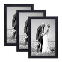 3er Set Bilderrahmen 20x30 cm Schwarz Modern aus MDF mit Glasscheibe und Zubehör / Fotorahmen  – Bild 1