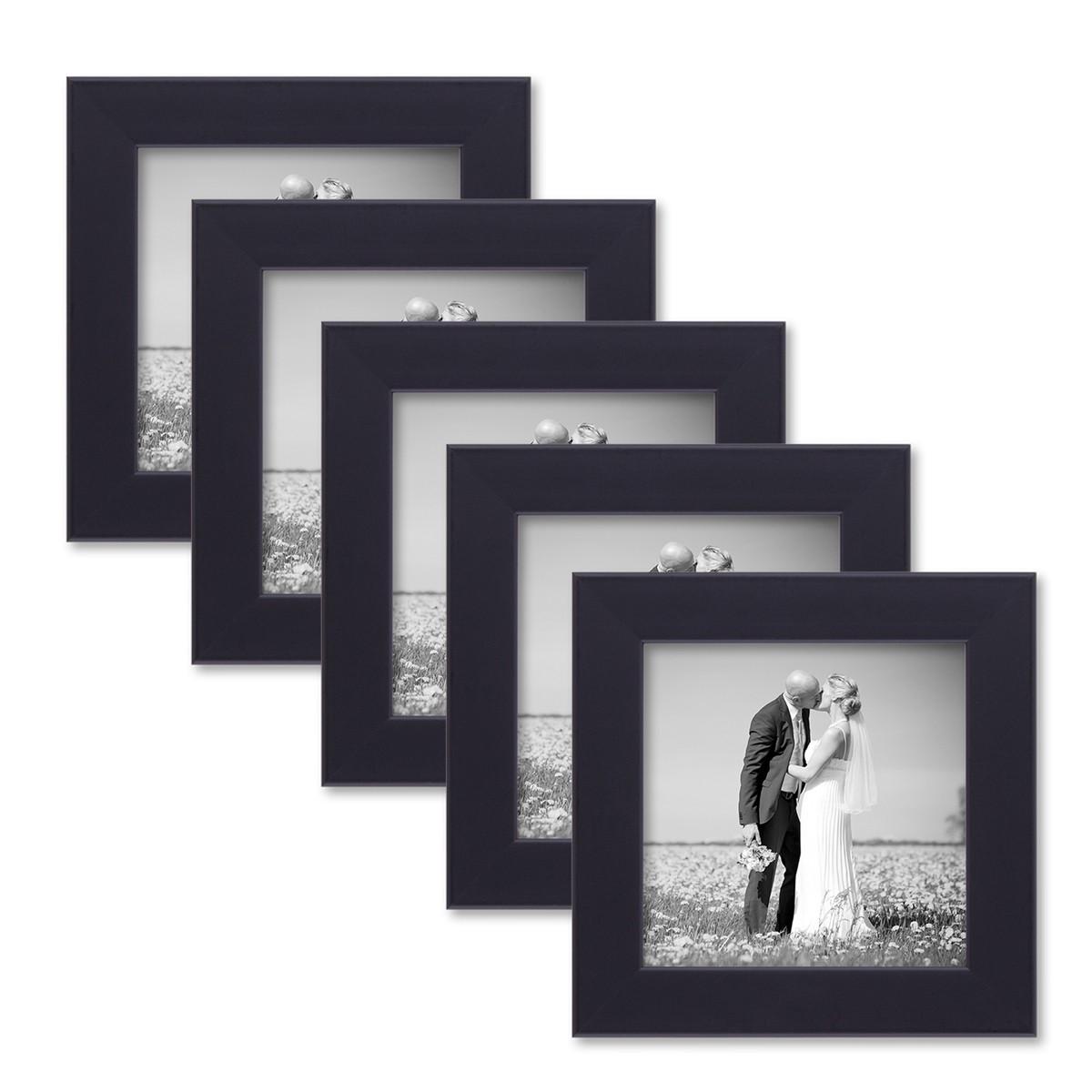 5er set bilderrahmen 10x10 cm schwarz modern aus mdf mit glasscheibe und zubeh r fotorahmen. Black Bedroom Furniture Sets. Home Design Ideas