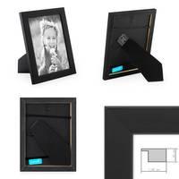 5er Set Bilderrahmen 10x10 cm Schwarz Modern aus MDF mit Glasscheibe und Zubehör / Fotorahmen  – Bild 2