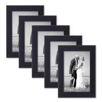 5er Set Bilderrahmen 10x15 cm Schwarz Modern aus MDF mit Glasscheibe und Zubehör / Fotorahmen  – Bild 1