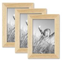 3er Set Bilderrahmen 10x15 cm Kiefer Natur Modern Massivholz-Rahmen mit Glasscheibe und Zubehör / Fotorahmen