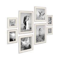 8er-Set Bilderrahmen Shabby-Chic Landhaus-Stil Weiss je 2 mal 10x10 10x15 20x20 und 20x30 cm inkl. Zubehör / Fotorahmen  – Bild 1