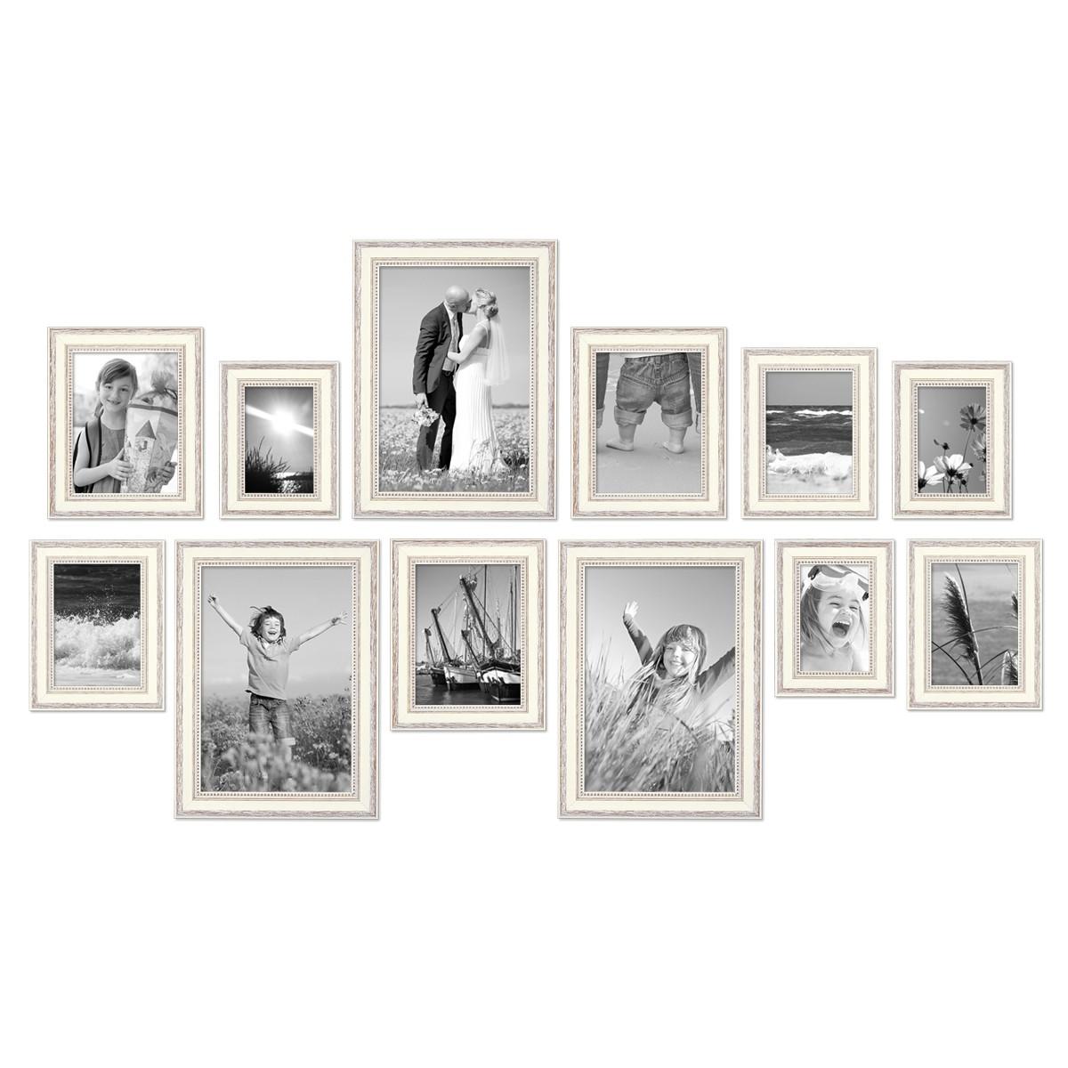 12er set bilderrahmen shabby chic landhaus stil weiss 10x15 bis 20x30 cm inklusive zubeh r. Black Bedroom Furniture Sets. Home Design Ideas