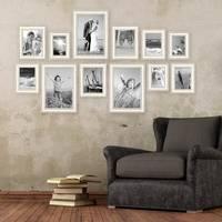 12er-Set Bilderrahmen Shabby-Chic Landhaus-Stil Weiss 10x15 bis 20x30 cm inklusive Zubehör / Fotorahmen