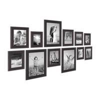 12er-Set Bilderrahmen Landhaus-Stil Shabby-Chic Dunkelbraun 10x15 bis 20x30 cm inklusive Zubehör / Fotorahmen