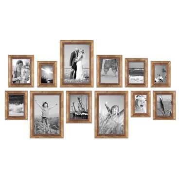 12er-Set Bilderrahmen Gold Barock Antik 10x15, 13x18, 15x20 und 20x30 cm inkl. Zubehör Fotorahmen / Barock-Rahmen