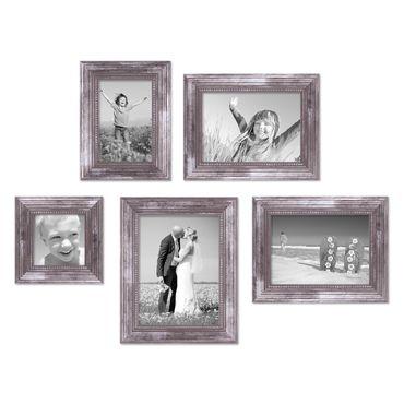 5er-Set Bilderrahmen Silber Barock Antik 10x10, 10x15, 13x18 und 15x20 cm inkl. Zubehör Fotorahmen / Barock-Rahmen