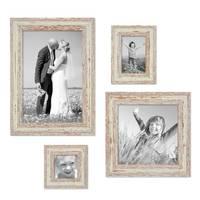 4er Set Vintage Bilderrahmen Weiss Shabby-Chic je einmal 10x10, 10x15, 20x20 und 20x30 cm inkl. Zubehör Fotorahmen / Nostalgierahmen
