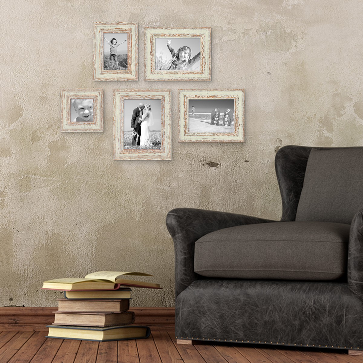 5er set bilderrahmen weiss shabby chic vintage 10x10 10x15. Black Bedroom Furniture Sets. Home Design Ideas