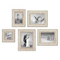 5er Set Vintage Bilderrahmen Weiss Shabby-Chic 10x10, 10x15, 13x18 und 15x20 cm inkl. Zubehör Fotorahmen / Nostalgierahmen