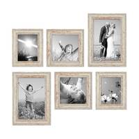 6er Set Vintage Bilderrahmen Weiss Shabby-Chic 15x20, 20x20 und 20x30 cm inkl. Zubehör Fotorahmen / Nostalgierahmen