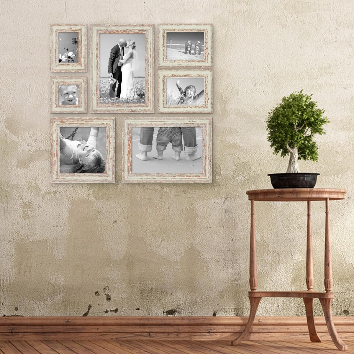 7er set vintage bilderrahmen weiss shabby chic 10x10 10x15 13x18 20x20 und 20x30 cm inkl. Black Bedroom Furniture Sets. Home Design Ideas