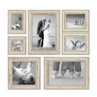 7er Set Vintage Bilderrahmen Weiss Shabby-Chic 10x10, 10x15, 13x18, 20x20 und 20x30 cm inkl. Zubehör Fotorahmen / Nostalgierahmen