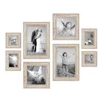 8er Set Vintage Bilderrahmen Weiss Shabby-Chic je 2 mal 10x10, 10x15, 20x20 und 20x30 cm inkl. Zubehör Fotorahmen / Nostalgierahmen  – Bild 1