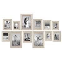 12er Set Vintage Bilderrahmen Weiss Shabby-Chic 10x15, 13x18, 15x20 und 20x30 cm inkl. Zubehör Fotorahmen / Nostalgierahmen  – Bild 4