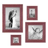 4er Set Vintage Bilderrahmen Rot-Braun Shabby-Chic, je einmal 10x10, 10x15, 20x20 und 20x30 cm, inkl. Zubehör, Fotorahmen / Nostalgierahmen