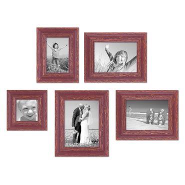 5er Set Vintage Bilderrahmen Rot-Braun Shabby-Chic, 10x10, 10x15, 13x18 und 15x20 cm, inkl. Zubehör, Fotorahmen / Nostalgierahmen