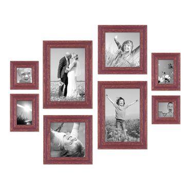 8er Set Vintage Bilderrahmen Rot-Braun Shabby-Chic, je 2 mal 10x10, 10x15, 20x20 und 20x30 cm, inkl. Zubehör, Fotorahmen / Nostalgierahmen