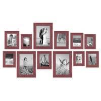 12er Set Vintage Bilderrahmen Rot-Braun Shabby-Chic