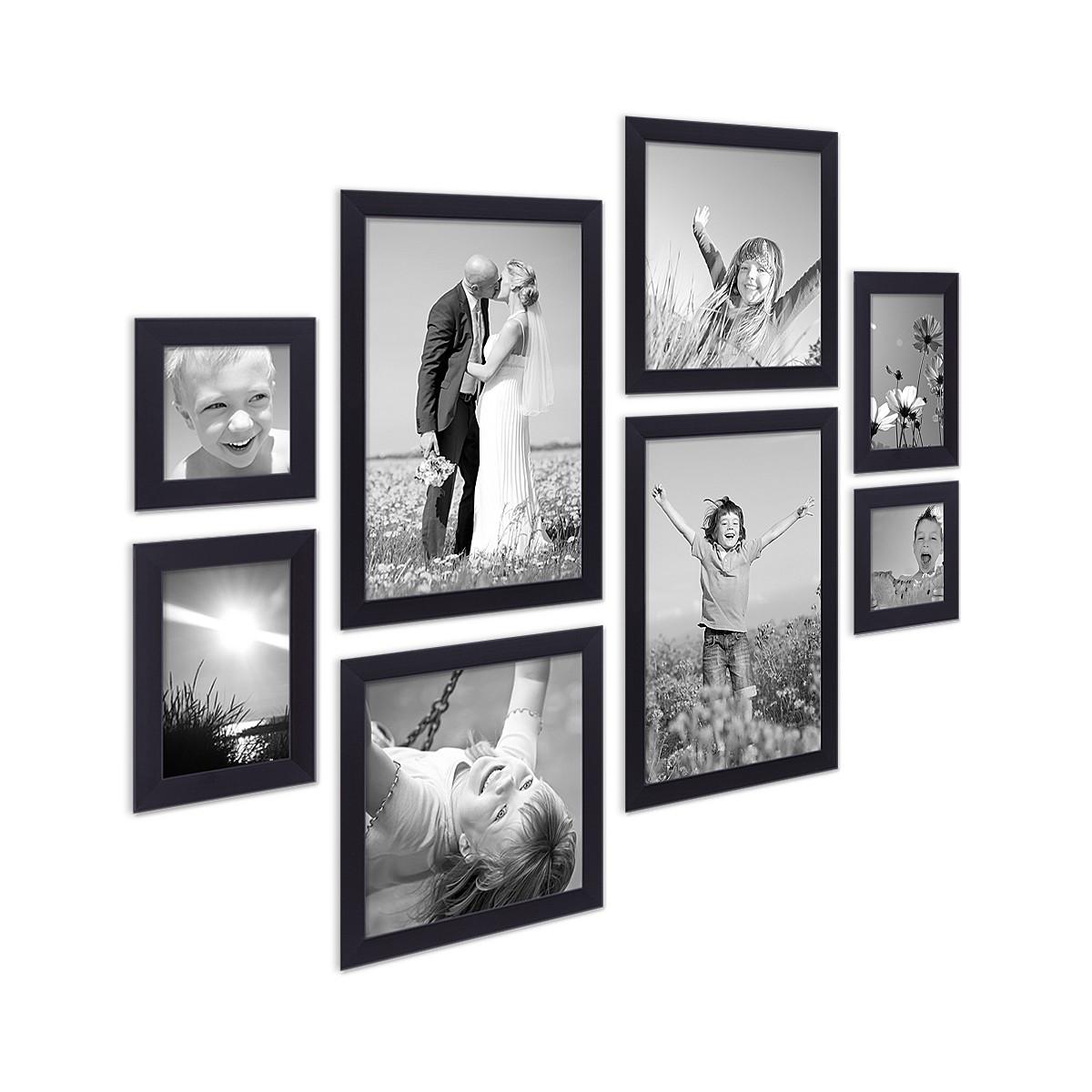 8er set bilderrahmen schwarz modern aus mdf je 2 mal 10x10. Black Bedroom Furniture Sets. Home Design Ideas