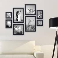 8er-Set Bilderrahmen Schwarz Modern aus MDF je 2 mal 10x10 10x15 20x20 und 20x30 cm inkl. Zubehör zur Gestaltung einer Bilderwand oder Fotowand / Fotorahmen  – Bild 1