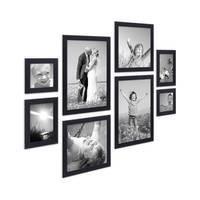 8er-Set Bilderrahmen Schwarz Modern aus MDF je 2 mal 10x10 10x15 20x20 und 20x30 cm inkl. Zubehör zur Gestaltung einer Bilderwand oder Fotowand / Fotorahmen  – Bild 2