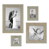 4er Set Vintage Bilderrahmen Grau-Grün Shabby-Chic je einmal 10x10, 10x15, 20x20 und 20x30 cm inkl. Zubehör Fotorahmen / Nostalgierahmen