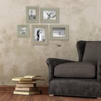 5er Set Vintage Bilderrahmen Grau-Grün Shabby-Chic 10x10, 10x15, 13x18 und 15x20 cm inkl. Zubehör Fotorahmen / Nostalgierahmen  – Bild 1