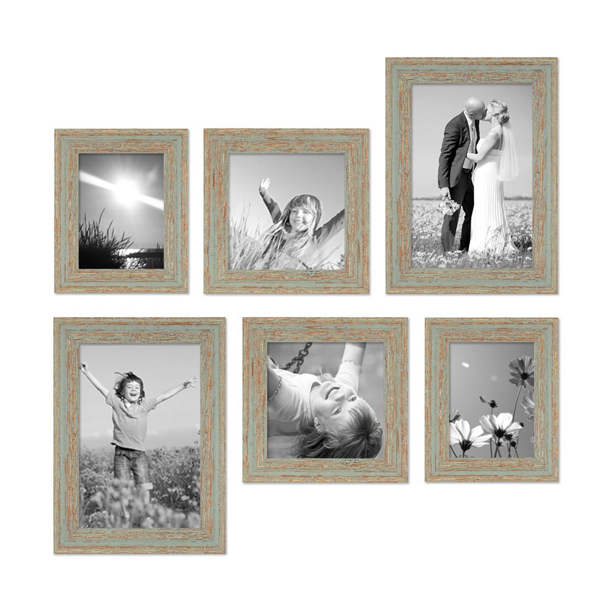 6er Set Vintage Bilderrahmen Grau-Grün Shabby-Chic 15x20, 20x20 und ...