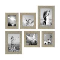 6er-Set Bilderrahmen Grau-Grün Shabby-Chic Vintage 15x20 20x20 und 20x30 cm inkl. Zubehör Fotorahmen / Nostalgierahmen
